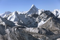 High mountains in cloud. Nepal. Everest mountain