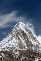 High mountains in cloud. Nepal. Everest. Mountains.