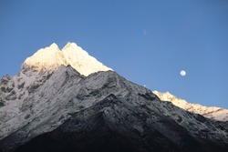 High mountains in night clouds. Nepal. Everest