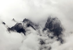 High mountains in the clouds