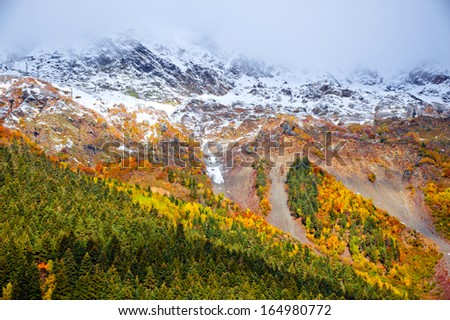 High mountains landscape and autumn in the mountains