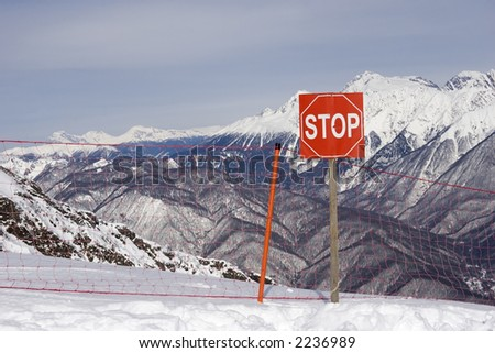 high mountains warning sign. Red Field, Sochi, Russia.