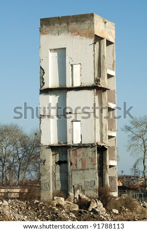 High old demolished building. Concrete stairs