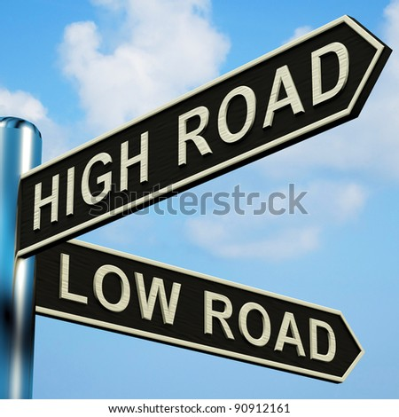 High Or Low Road Directions On A Metal Signpost
