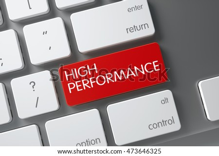 High Performance Concept: Metallic Keyboard with High Performance, Selected Focus on Red Enter Button. 3D Illustration.
