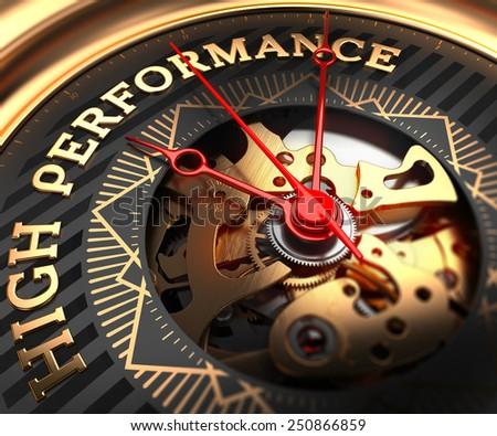 High Performance on Black-Golden Watch Face with Watch Mechanism. Full Frame Closeup.