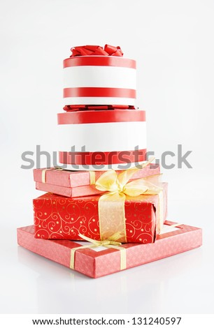 High Pile Of Beautiful Gift Boxes
