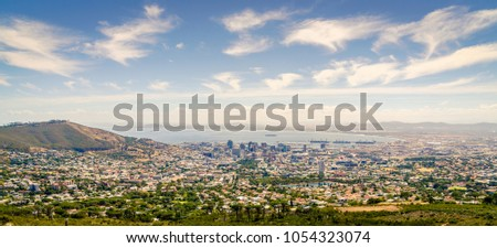 High point view of the city of Cape Town the Atlantic coast