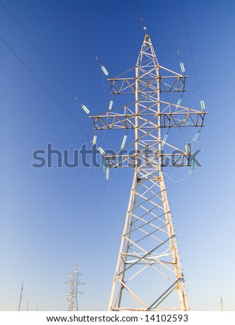 High power cable tower at blue sky background