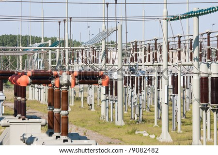 High power electricity system with several transformers - stock photo