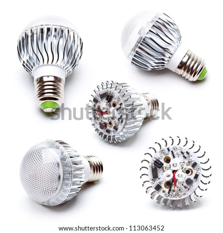 High power LED light bulb collection - stock photo