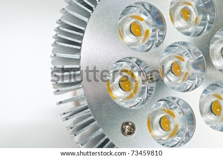 High power LED light bulb on a white background