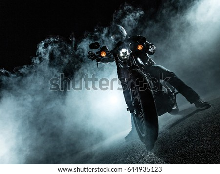High power motorcycle chopper at night. Smoke on background. #644935123