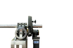 high precision and automatic versatile continuous orbital machine for metal tube or pipe cutting beveling(prepare angle edge and surface) for welding process in industrial isolated with clipping path