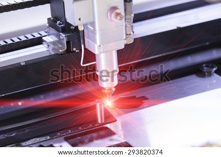 High precision CNC laser cutting metal sheet Foto stock ©
