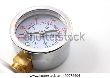 high pressure barometer of a pump on white background