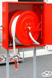 High pressure fire hose at red spool