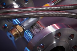 High Pressure Hoses on Stainless Steel Background