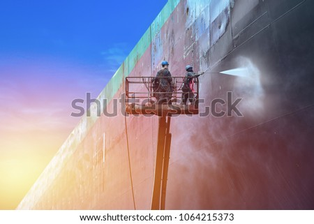 high pressure water jet to cleaning with Old ship wash