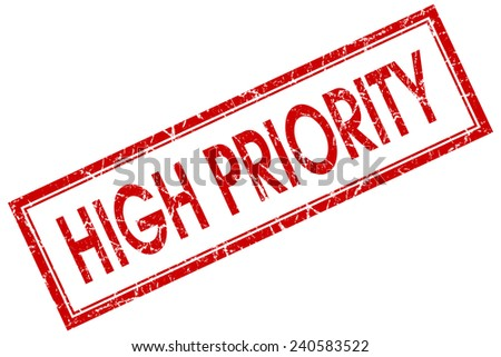 high priority red square stamp isolated on white background