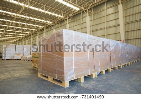 High Protective, wrapping box on the pallet in the warehouse ready to load for export