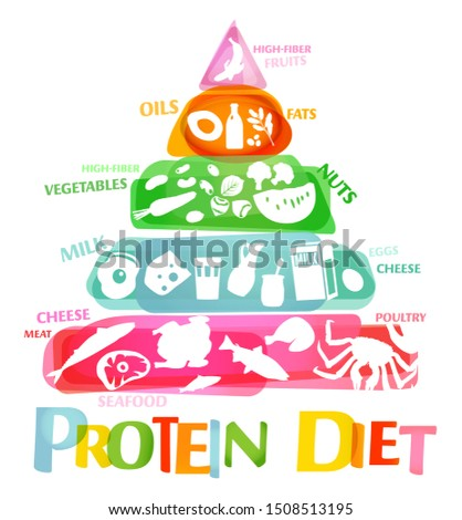 High protein diet vertical poster. Colourful illustration with different food types on a white background. Healthy eating chart. Useful infographic
