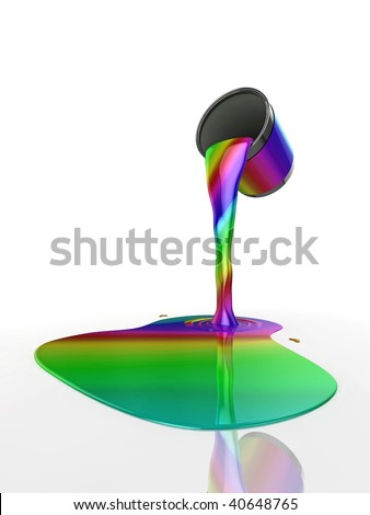 """High quality abstract illustration of a can of """"Rainbow Paint"""" pouring onto the floor"""