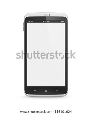 High quality and very detailed realistic illustration of modern mobile smartphone with blank screen isolated on white. Include clipping path for phone and screen.