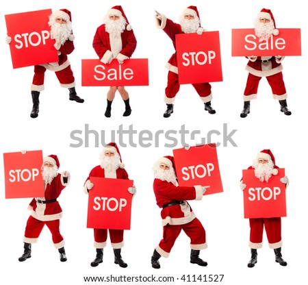 High quality Christmas collection of a happy Santa isolated over white background.