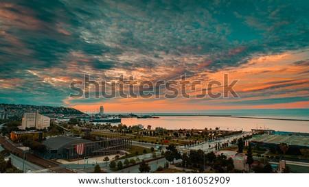 High quality city and beach view taken by drone from Ilkadım district of Samsun. ' Ilkadim Sahil Samsun ' Stok fotoğraf ©