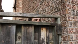 High quality close-up of a suspicious man peeking out wooden fence, man watching neighbours. Troublemaker, house break in