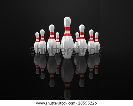 High quality 3d illustration of 10 bowling pins on a glossy black surface.