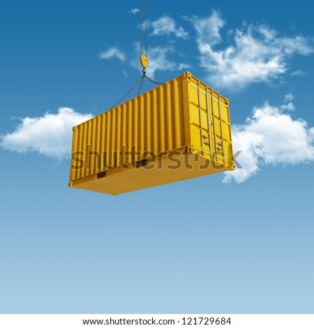High quality 3D render shipping container during transport