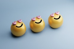 high quality 3d round yellow cartoon bubble emoticons for social media emoji character message