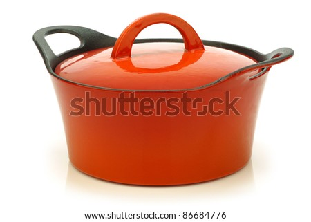 high quality enamel  frying pan with cover on a white background