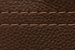 high-quality genuine leather texture with decorative seam