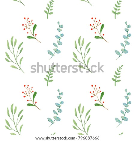 High quality hand drawn seamless pattern with funny cute flowers and leaves isolated on white background. Good for fabric, wrapping paper, prints etc.