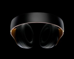 High-quality headphones on a black background isolated. Headphone product photo.
