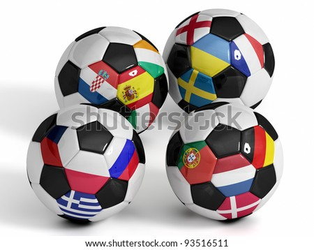 High Quality, hi-res 3D render of four soccer balls with the sixteen flags of the competing teams.