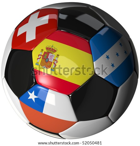 High Quality, hi-res 3D render of soccer ball with the four flags of the competing teams Stock fotó ©