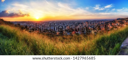 High Quality (High Dynamic Range) and High Resolution (Panorama) of Sunset over Belo Horizonte City Seen from Water Tank Belvedere (Mirante da Caixa D'Água)