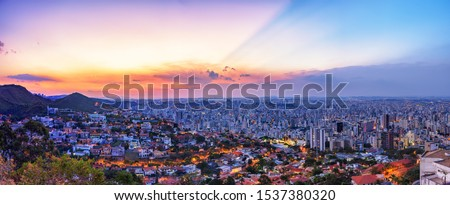 High Quality (High Dynamic Range  - HDR) Panoramic Aerial Image of a Beautiful Colorful Sunset Sky over Belo Horizonte City seen from Mangabeira Park Viewpoint (Over 90 Mega Pixels) #1537380320