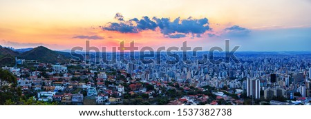 High Quality (High Dynamic Range  - HDR) Panoramic Aerial Image of a Beautiful Colorful Sunset Sky over Belo Horizonte City seen from Mangabeira Park Viewpoint (70 Mega Pixels)