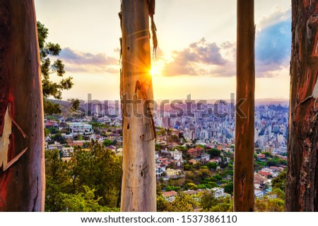 High Quality (High Dynamic Range  - HDR) Panoramic Aerial Image of a Beautiful Colorful Sunset Sky and Tree Trunks in Mangabeira Park Viewpoint Overlooking Belo Horizonte, Minas Gerais, Brazil