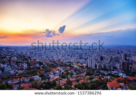High Quality (High Dynamic Range  - HDR) Panoramic Aerial Image of a Beautiful Colorful Sunset Sky over Belo Horizonte City seen from Mangabeira Park Viewpoint (Minas Gerais, Brazil) #1537386296