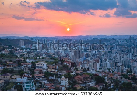 High Quality (High Dynamic Range  - HDR) Panoramic Aerial Image of a Beautiful Colorful Sunset Sky over Belo Horizonte City seen from Mangabeira Park Viewpoint (Minas Gerais, Brazil)