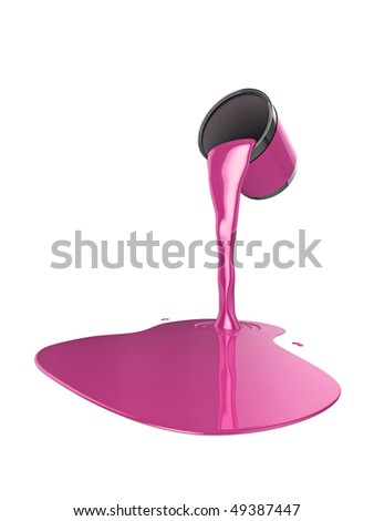 High quality illustration of a can of pink gloss paint pouring onto the floor