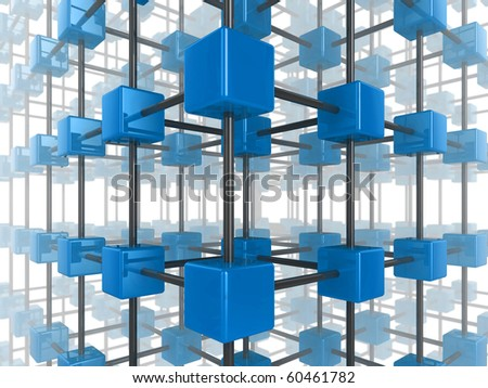 High quality illustration of a network of glossy blue green cubes, connected by a wire frame