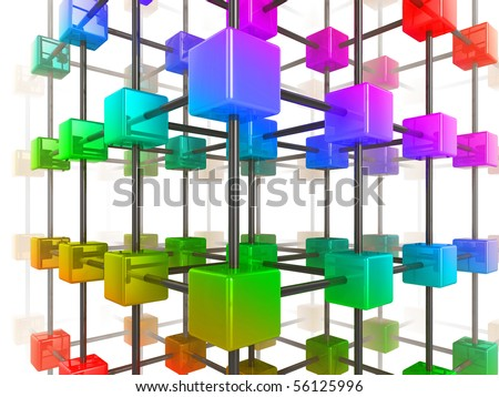 High quality illustration of a network of glossy multi colored cubes, connected by a wire frame