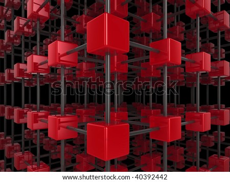 High quality illustration of a network of glossy red cubes, connected by a wire frame